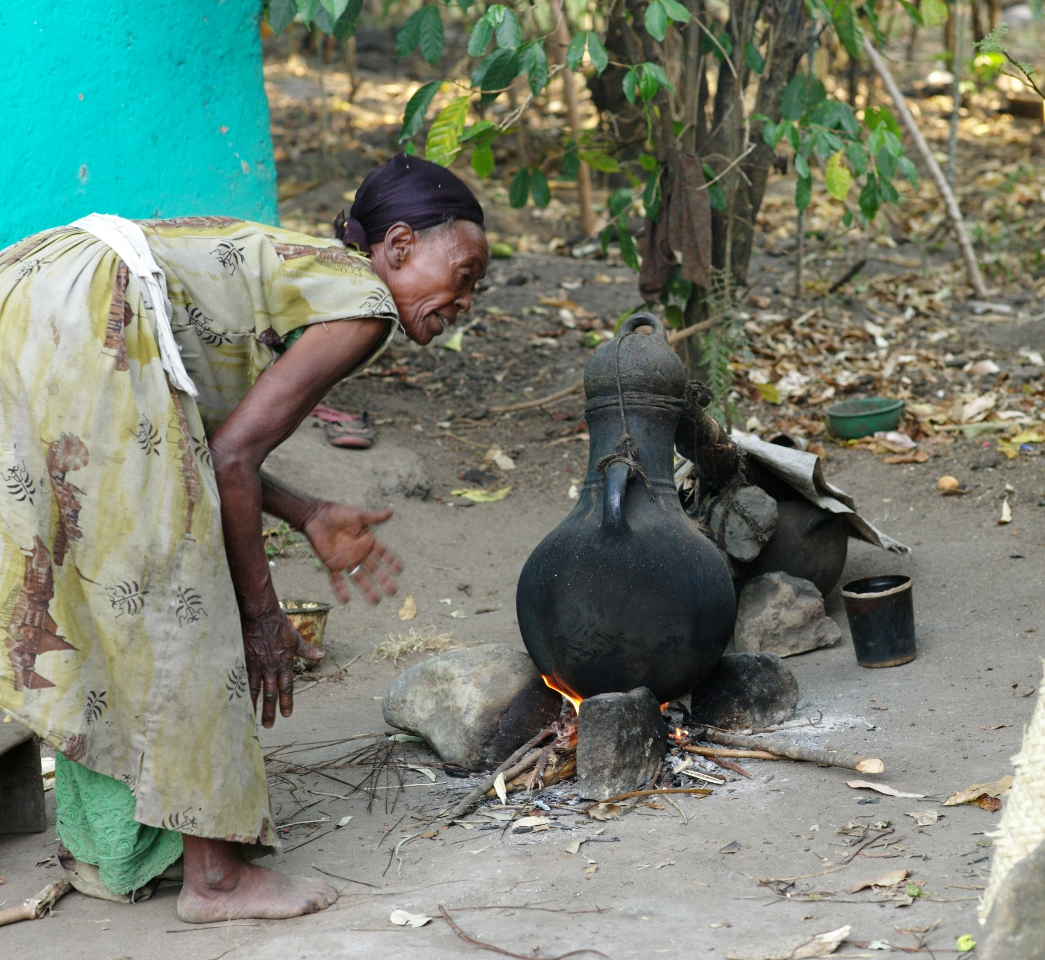 Ari woman making local alcohol